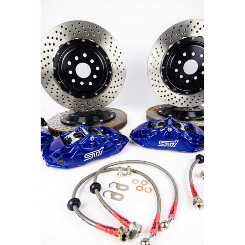 Тормозная система AP Racing (репл.) задней оси (суппорта 4 поршня, скобы, двусоставные тормозные диски, колодки, шланги) (330 мм) ABARTH 500 1.4 (2008-) (Разболтовка 4 X 98), CP-5200