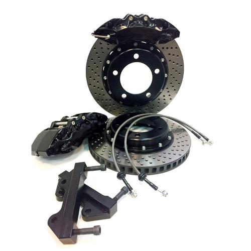 Тормозная система AP Racing (репл.) передней оси (суппорта 6 поршней, скобы, двусоставные тормозные диски, колодки, шланги) (380, 355 мм) ABARTH 500 1.4 (2008-) (PCD 4 X 98), AP9040